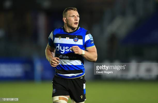Sam Underhill of Bath looks on during the Gallagher Premiership Rugby match between Bath and Sale Sharks at The Recreation Ground on May 14, 2021 in...