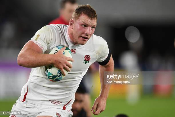 Sam Underhill of England advances with the ball during the Rugby World Cup 2019 Semi-Final match between England and New Zealand at International...