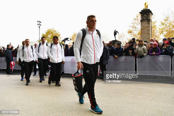 Sam Underhill of England arrives at the stadium prior to the Old Mutual Wealth Series match between England and Australia at Twickenham Stadium on...