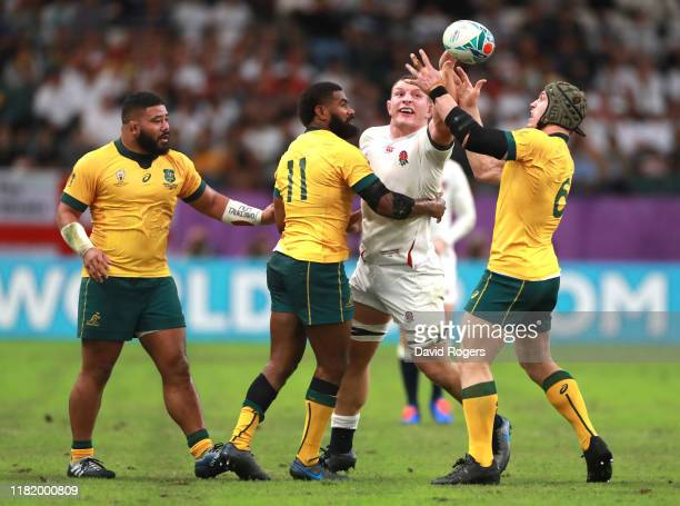 Sam Underhill of England battles for the ball with David Pocock and Marika Koroibete of Australia during the Rugby World Cup 2019 Quarter Final match...