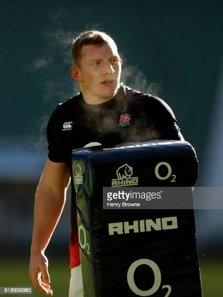 Sam Underhill of England during an England Rugby training session at Twickenham Stadium on February 16 2018 in London England