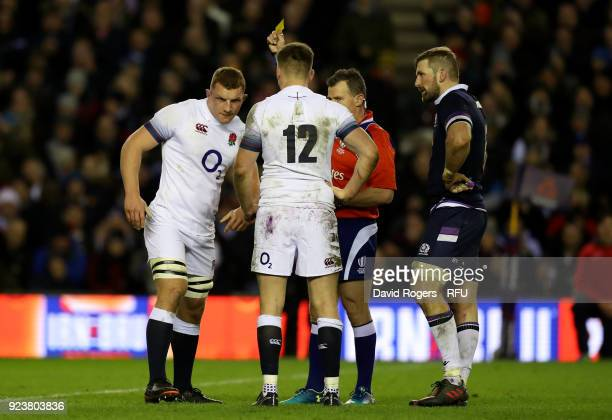 Sam Underhill of England gets a yellow card during the NatWest Six Nations match between Scotland and England at Murrayfield on February 24 2018 in...
