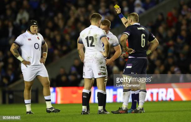 Sam Underhill of England is shown a yellow card by referee Nigel Owens during the NatWest Six Nations Championship between Scotland and England at...