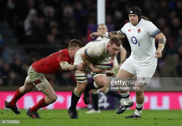 Sam Underhill of England is tackled during the NatWest Six Nations match between England and Wales at Twickenham Stadium on February 10 2018 in...