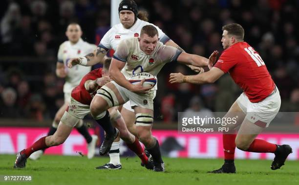 Sam Underhill of England moves past Elliot Dee during the NatWest Six Nations match between England and Wales at Twickenham Stadium on February 10...