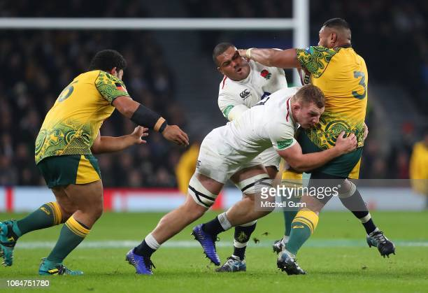Sam Underhill of England tackles a3during the Quilter International match between England and Australia on November 24, 2018 in London, United...