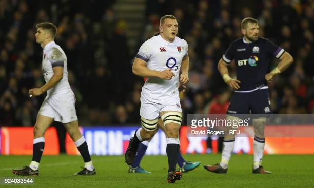 Sam Underhill of England walks off the pitch after being shown the yellow card by referee Nigel Owens during the NatWest Six Nations match between...
