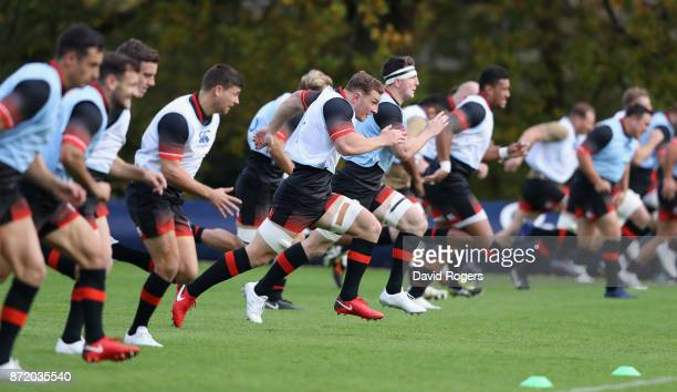 Sam Underhill sprints with team mates during the England training session held at Pennyhill Park on November 9 2017 in Bagshot England