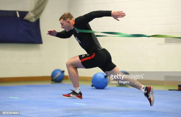 Sam Underhill stretches during the England conditioning session held at Nuffield Health Centre on February 28 2018 in Oxford England