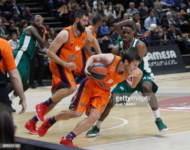Sam Van Rossom #9 of Valencia Basket competes with Athanasios Antetokounmpo #43 of Panathinaikos Superfoods Athens during the 2017/2018 Turkish...
