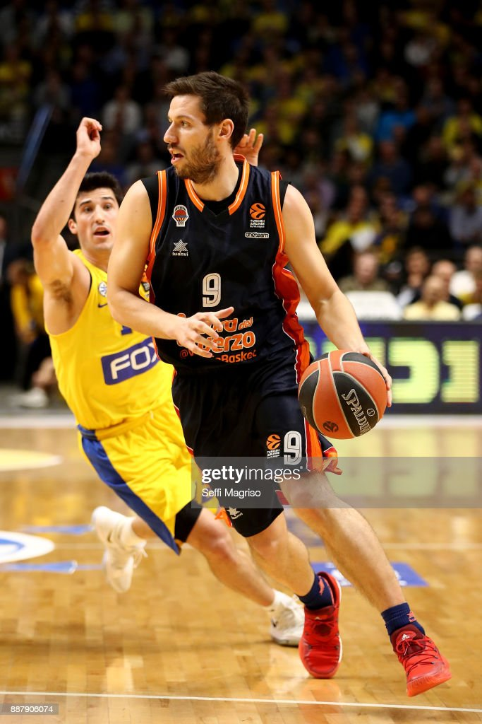 Sam Van Rossom, #9 of Valencia Basket in action during the 2017/2018 Turkish Airlines EuroLeague Regular Season Round 11 game between Maccabi Fox Tel Aviv and Valencia Basket at Menora Mivtachim Arena on December 7, 2017 in Tel Aviv, Israel.