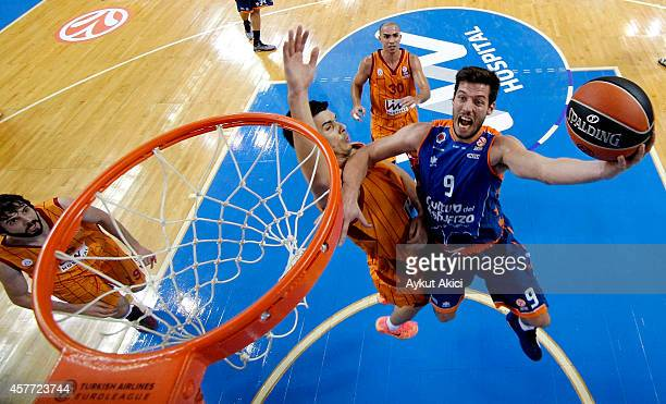 Sam Van Rossom in action during the 20142015 Turkish Airlines Euroleague Basketball Regular Season Date 2 between Galatasaray Liv Hospital Istanbul v...