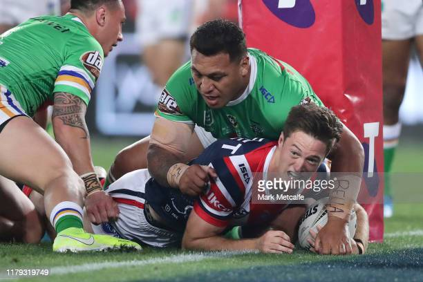 Sam Verrills of the Roosters celebrates scoring a try during the 2019 NRL Grand Final match between the Canberra Raiders and the Sydney Roosters at...