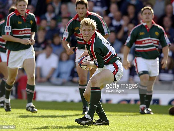 Sam Vesty of Leicester passes the ball to a team mate during the Zurich Premiership match between the Bristol Shoguns and the Leicester Tigers on...