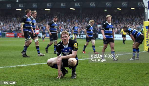 Sam Vesty the Bath centre looks dejected at the end of the first half as Leicester Tigers score three first half tries during the Aviva Premiership...