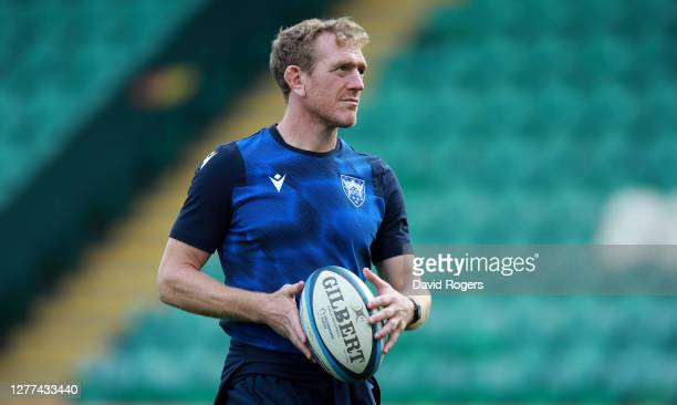 Sam Vesty the Northampton Saints backs coach looks on during the Gallagher Premiership Rugby match between Northampton Saints and Sale Sharks at...