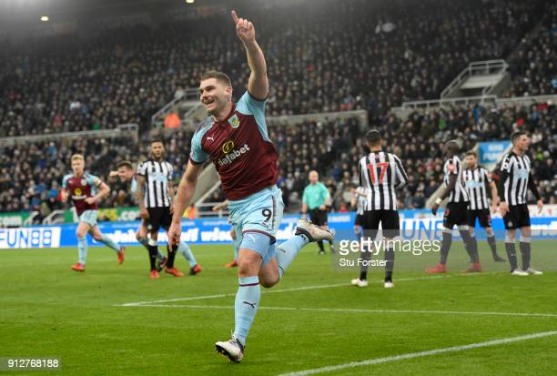 Sam Vokes of Burnley celebrates after scoring his sides first goal during the Premier League match between Newcastle United and Burnley at St James...