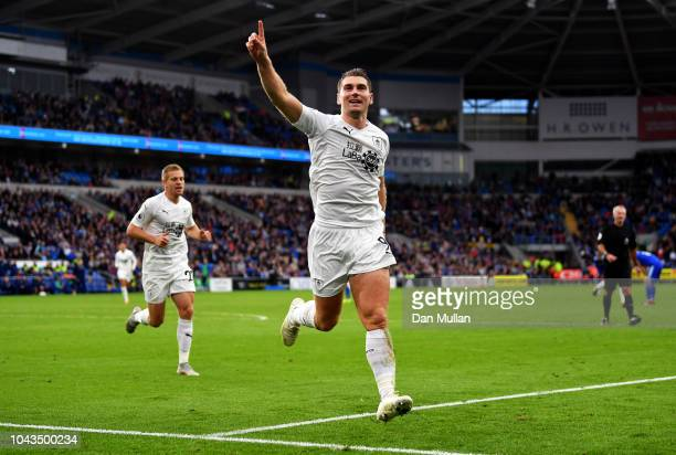 Sam Vokes of Burnley celebrates after scoring his team's second goal during the Premier League match between Cardiff City and Burnley FC at Cardiff...