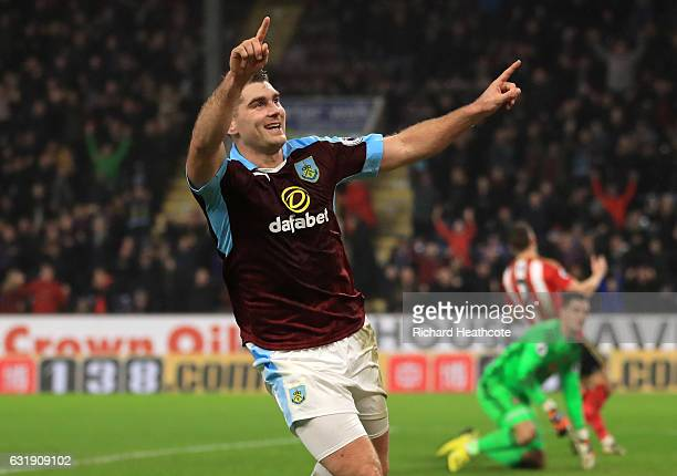 Sam Vokes of Burnley celebrates scoring his sides first goal during the Emirates FA Cup third round replay between Burnley and Sunderland at Turf...