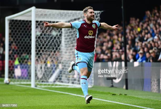 Sam Vokes of Burnley celebrates scoring his side's first goal during the Premier League match between Watford and Burnley at Vicarage Road on April 7...