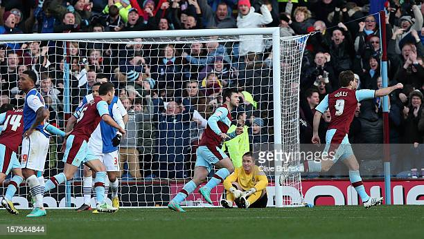Sam Vokes of Burnley celebrates scoring the equaliser as Blackburn Rovers keeper Paul Robinson looks on dejected during the npower Championship match...