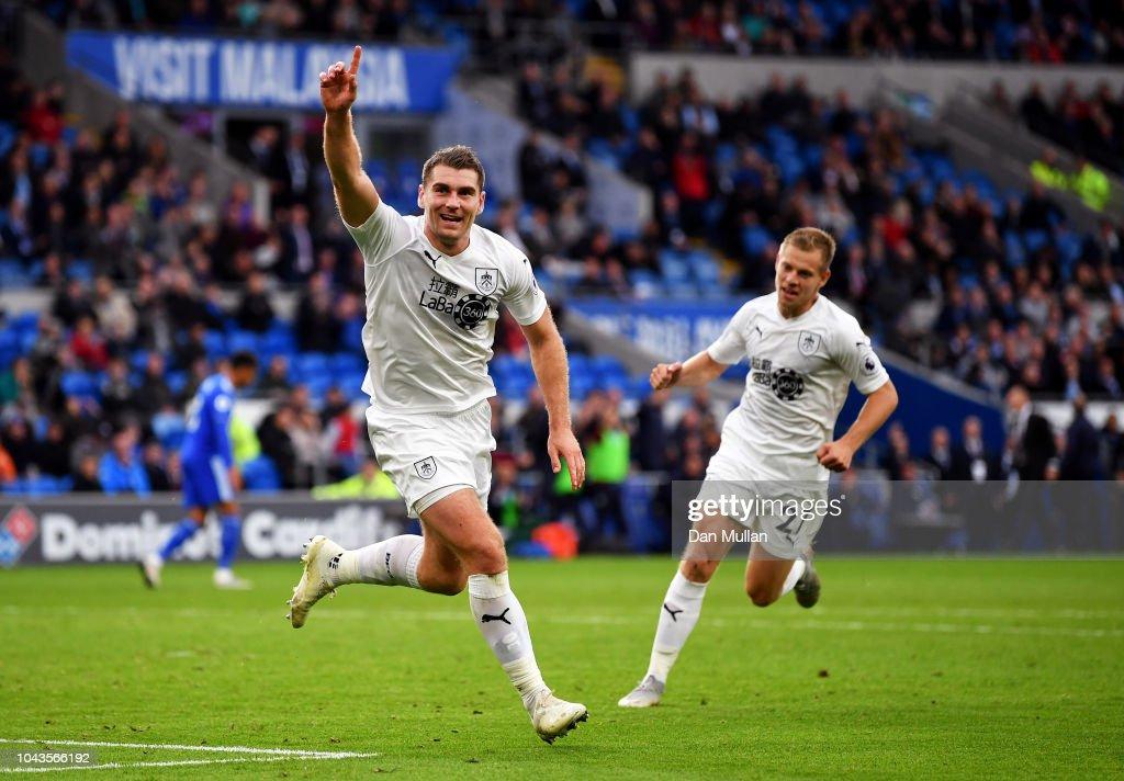 Sam Vokes Of Burnley Celebrates With Team Mate Matej Vydra