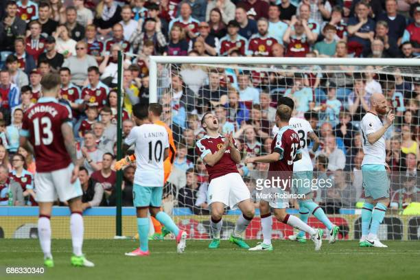 Sam Vokes of Burnley reacts during the Premier League match between Burnley and West Ham United at Turf Moor on May 21 2017 in Burnley England