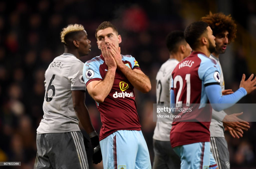 Sam Vokes of Burnley reacts during the Premier League match between Burnley and Manchester United at Turf Moor on January 20, 2018 in Burnley, England.
