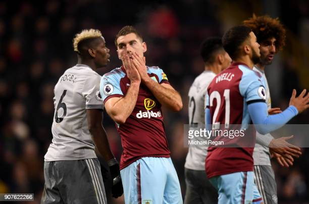 Sam Vokes of Burnley reacts during the Premier League match between Burnley and Manchester United at Turf Moor on January 20 2018 in Burnley England