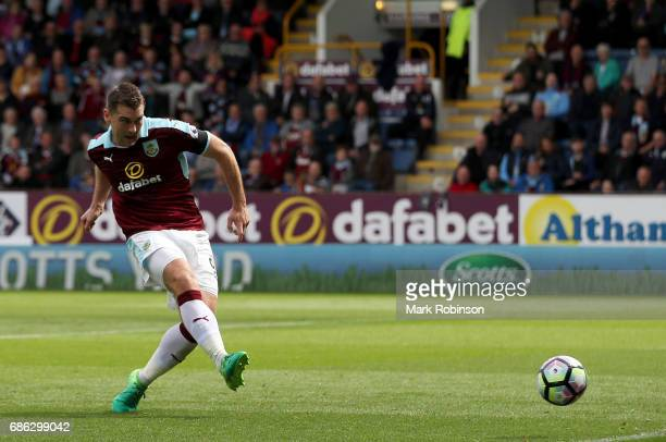 Sam Vokes of Burnley scores his sides first goal during the Premier League match between Burnley and West Ham United at Turf Moor on May 21 2017 in...