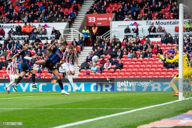 Sam Vokes of Stoke City beats Richard Wood of Rotherham United to the ball to score the opening goal of the game during the Sky Bet Championship...