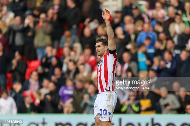 Sam Vokes of Stoke City celebrates after scoring a goal to make it 10 during the Sky Bet Championship Match between Stoke City and Aston Villa at...