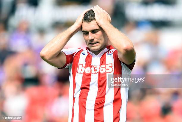 Sam Vokes of Stoke City reacts during the Sky Bet Championship match between Stoke City and Queens Park Rangers at Bet365 Stadium on August 03 2019...