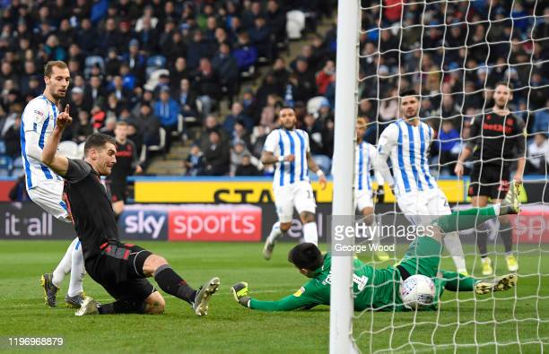 Sam Vokes of Stoke City scores his sides first goal during the Sky Bet Championship match between Huddersfield Town and Stoke City at John Smith's...