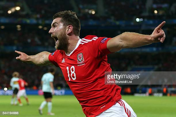 Sam Vokes of Wales celebrates scoring his side's third goal during the UEFA Euro 2016 Quarter Final match between Wales and Belgium at Stade...