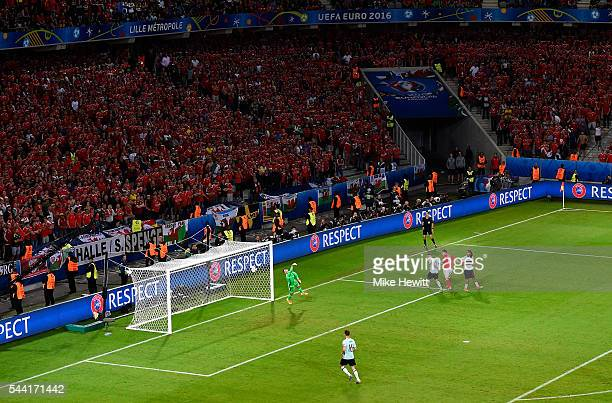 Sam Vokes of Wales heads the ball to score his team's third goal during the UEFA EURO 2016 quarter final match between Wales and Belgium at Stade...
