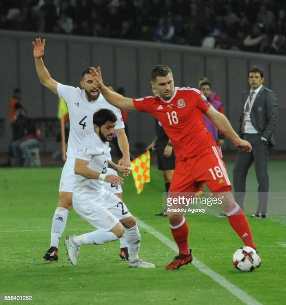 Sam Vokes of Wales in action against Giorgi Navalovski of Georgia during the FIFA 2018 World Cup Qualifier between Georgia and Wales at Boris...