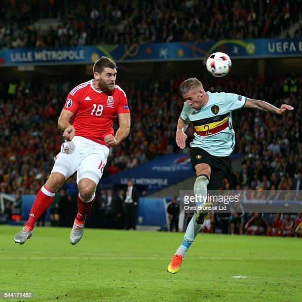 Sam Vokes of Wales scores his side's third goal during the UEFA Euro 2016 Quarter Final match between Wales and Belgium at Stade PierreMauroy on July...