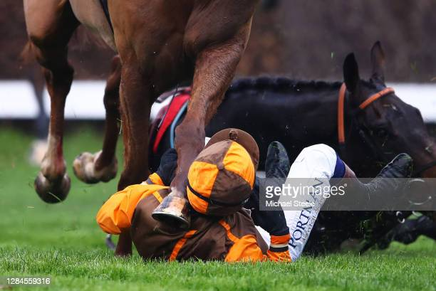 Sam Waley-Cohen falls off Igor at the second last hurdle as he narrowly misses the hoof of Flegmatik ridden by Harry Skelton in the Guildford...