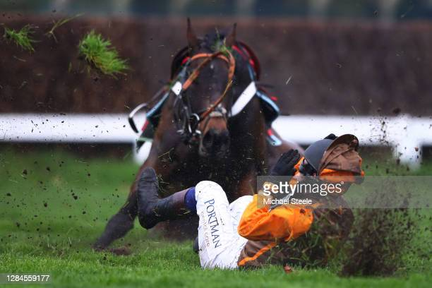 Sam Waley-Cohen falls off Igor at the second last hurdle in the Guildford Novices' Limited Handicap Chase at Sandown Park on November 08, 2020 in...