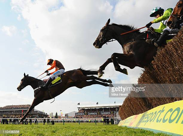 Sam WaleyCohen on Long Run clears the last ahead of Denman and Kauto Star on their way to victory in the totesport Cheltenham Gold Cup Chase at...
