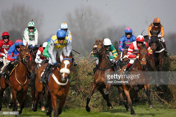 Sam Waley-Cohen rding Rajdhani Express clear 'The Chair' on their way to winning The Crabbie's Topham Steeple Chase on day two of the three day Grand...