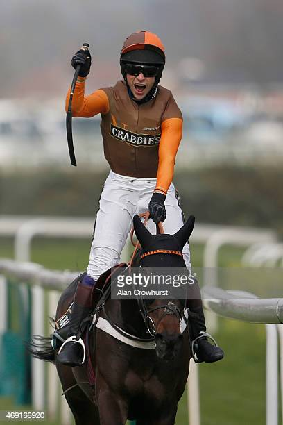 Sam Waley-Cohen rding Rajdhani Express win The Crabbie's Topham Steeple Chase on day two of the three day Grand National meeting at Aintree...