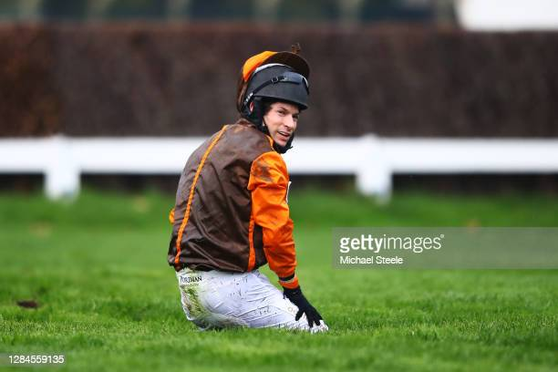 Sam Waley-Cohen reacts after falling off Igor at the second last hurdle in the Guildford Novices' Limited Handicap Chase at Sandown Park on November...
