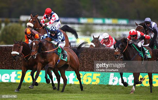 Sam Waley-Cohen rides The Young Master to win The bet365 Gold Cup Steeple Chase ahead of Richard Johnson on Sausalito Surnrise at Sandown racecourse...