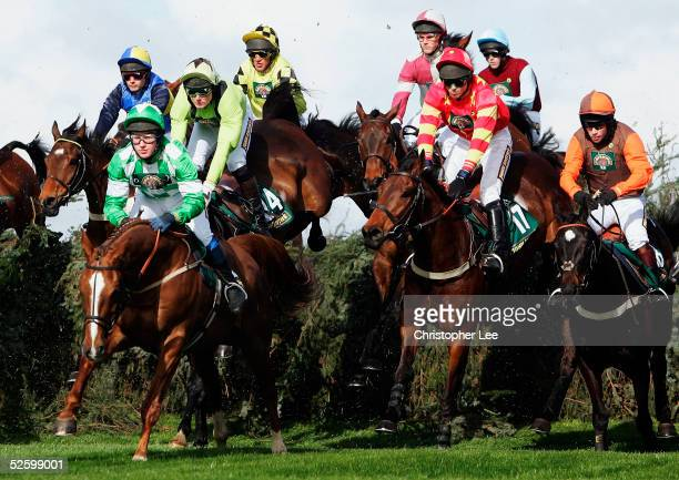 Sam WaleyCohen riding Katarino jumps the first fence as he goes on to win the John Smith's Fox Hunters Steeple Chase race during the Grand National...