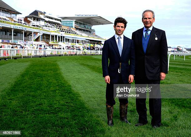 Sam Waley-Cohen with his father Robert Waley-Cohen at Aintree racecourse on April 04, 2014 in Liverpool, England.