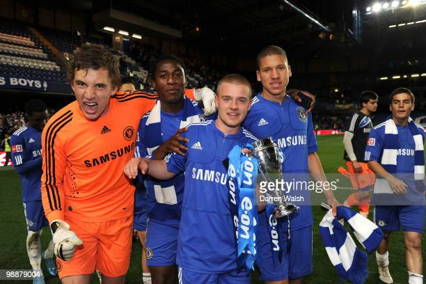 Sam Walker, Danny Mills Pappoe, Connor Clifford, Jeffrey Bruma of Chelsea youth during the FA Youth Cup Final 2nd leg match between Chelsea Youth and...