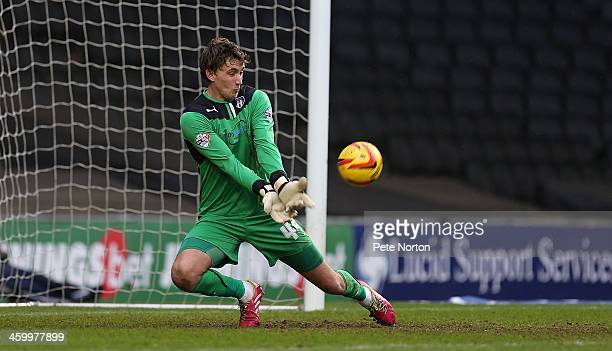 Sam Walker of Colchester United in action during the Sky Bet League One match between Milton Keynes Dons and Colchester United at Stadium MK on...