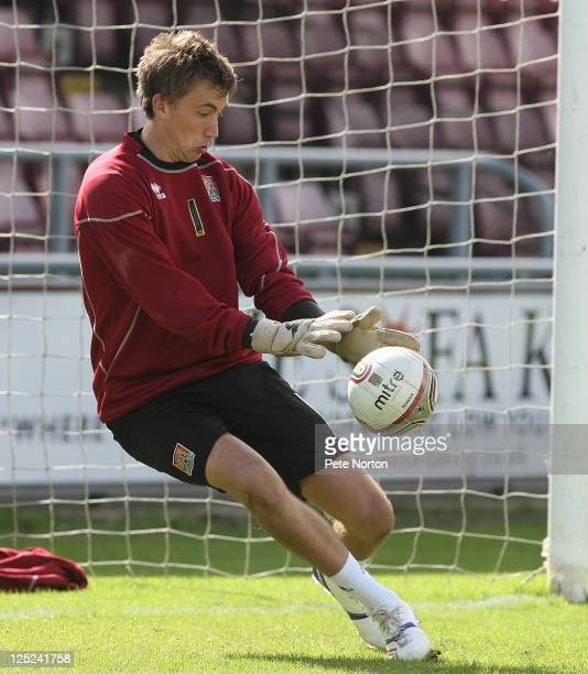 Sam Walker of Northampton Town in action during a training session at Sixfields Stadium on September 12 2011 in Northampton England